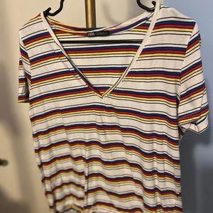 Zara Rainbow Stripe V Neck T Shirt Sz L